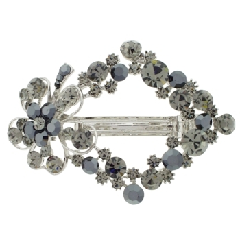 Karen Marie - Crystal Daisy Wreath Barrette -  Smoke (1)