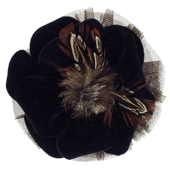 Karen Marie - Le Fleur Collection - Velvet Flower w/Peacock Feathers - Dark Chocolate  (1)