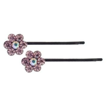 Karen Marie - Crystal Flower Bobby Pins - Amethyst - Black (Set of 2)