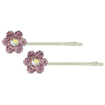 Karen Marie - Crystal Flower Bobby Pins - Amethyst - Silver (Set of 2)