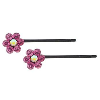 Karen Marie - Crystal Flower Bobby Pins - Rose - Black (Set of 2)