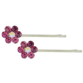 Karen Marie - Crystal Flower Bobby Pins - Rose - Silver (Set of 2)