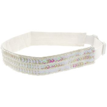 HB HairJewels - Lucy Collection - Adjustable Beaded & Sequined Bandeau - White Opal