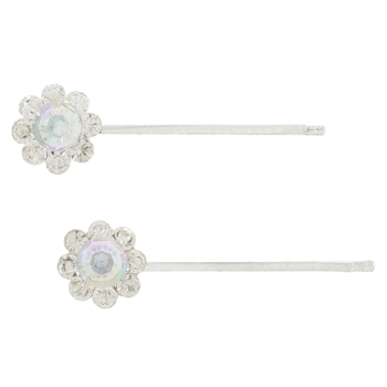 Karen Marie - Bridal Collection - Crystal Silver Bobby Pins - White w/AB Crsytal Center (Set of 2)