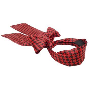 Karen Marie - Houndstooth Inspired Satin Blend Scarf Headband - Red & Black (1)