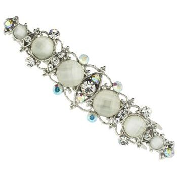 Karen Marie - Moonstone Crystal Filigree Barrette - White (1)