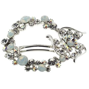 Karen Marie - Crystal Whimsical Flower Wreath Barrette - White (1)