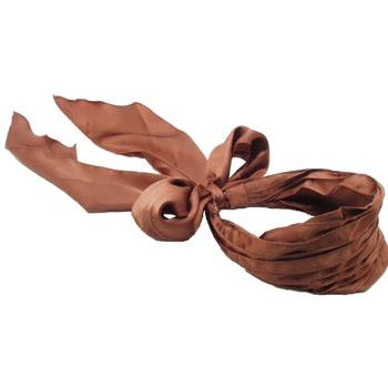 Karen Marie - Satin Inspired Runched Scarf Headband - Chocolate (1)