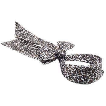 Karen Marie - Leopard Print - Satin Blend Sash Headband - White w/Light Tan Spots & Black Framed Spashes (1)