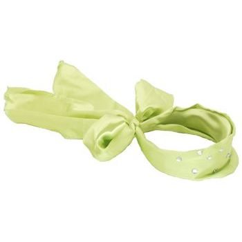 Karen Marie - Satin Inspired Scarf Headband - Vibrant Lime Green w/Clear Crystal Studs (1)