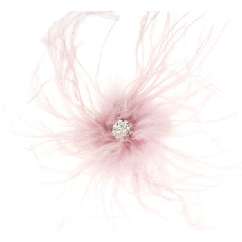 Karin's Garden - Ostrich Feather Barrette w/Crystal Center - Soft Pink (1)