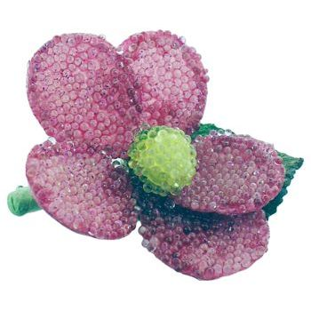 Karin's Garden - Beaded Daisy Pin - Purple (1)