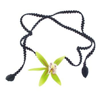 Karin's Garden - Satin Orchid Choker - Lime on Black (1)