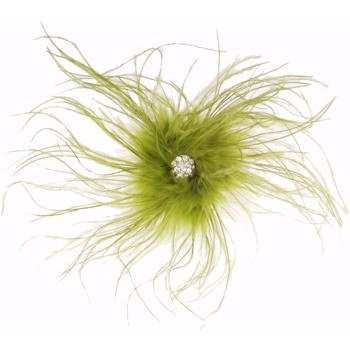 Karin's Garden - Ostrich Feather Barrette w/Crystal Center - Soft Olive (1)