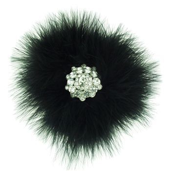 Karin's Garden - Feather Circle w/Crystal Center Clip - Rich Black (1)