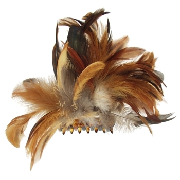 Karin's Garden - Feather Encrusted Medium Jaw Clip - Brown (1)