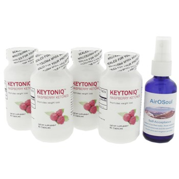 KEYTONIQ Raspberry Ketones - 100% Pure - (4 bottles - 120 days) + Special Aromatherapy Spray Gift (SP $20) While Supplies Last