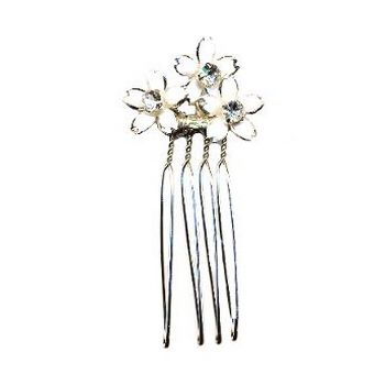 Betty Wales - Trio Enamel Flowers Hairpin