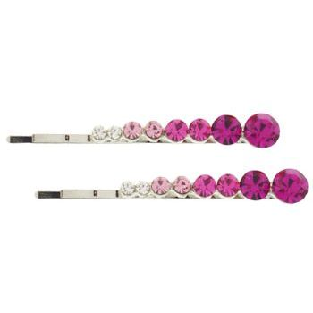Karen Marie - Crystal Bobby Pins - Pink/Silver (Set of 2)