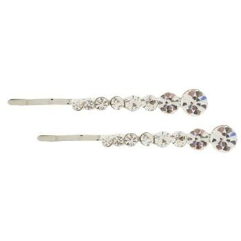 Karen Marie - Crystal Bobby Pins - White/Silver (Set of 2)
