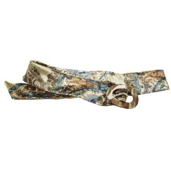 L. Erickson USA - Luxury Buckle Printed Velvet Belt - Aqua w/Caramel Horn - LARGE