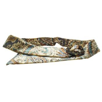 L. Erickson USA - Luxury Buckle Printed Velvet Belt - Aqua w/Tokyo - MEDIUM