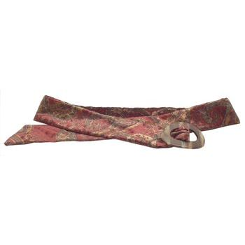 L. Erickson USA - Luxury Buckle Printed Velvet Belt - Cabernet w/Caramel Horn - LARGE