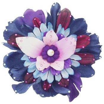 Michelle Roy - Large Layered Blooming Flower Clip - Navy, Purple, Scarlet & Pink with Swarovski Crystals