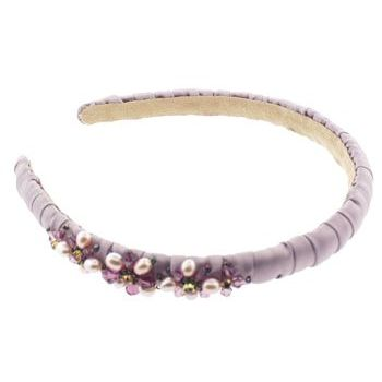 Jane Tran - Silk Wrapped Headband w/Faceted Beads - Lilac (1)