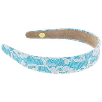Lily Posh - Turquoise Satin Headband with Flowering Lace - White
