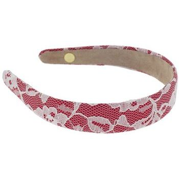 Lily Posh - Red Satin Headband with Flowering White Lace