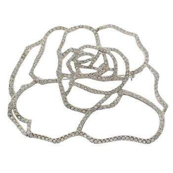 Karen Marie - Bridal Collection - Abstract Crystal Open Rose Brooch - White Diamond (1)