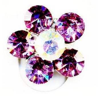 Rhinestone Flower Toe Ring -  Light Amethyst