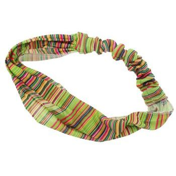 HB HairJewels - Lucy Collection - Sheer Tiny Stripe Soft Headband - Lime (1)