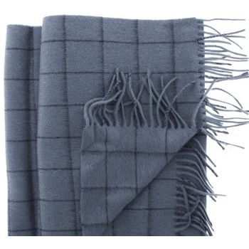Karen Marie Men's Collection - Cashmere Classics - 100% Cashmere Windowpane Plaid Scarf - Storm Blue & Navy