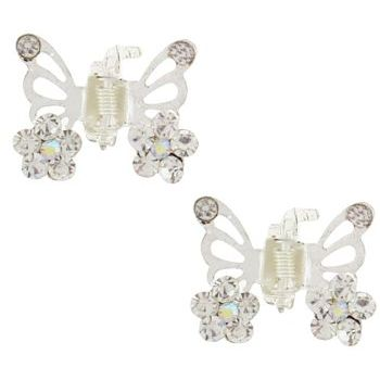 Karen Marie - Tiny Crystal Flower Butterfly Claw - White/Silver (Set of 2)