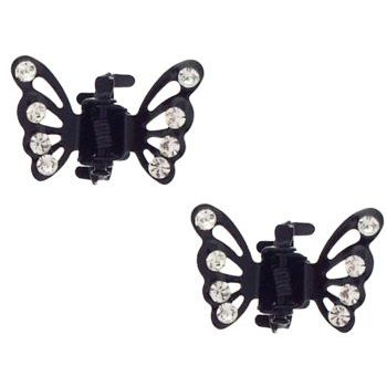 Karen Marie - Tiny Crystal Monarch Butterfly Claw - White  (Set of 2)