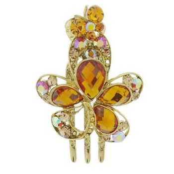 Medusa's Heirlooms - Citrine Crystal Flower and Butterfly Jaw Clip