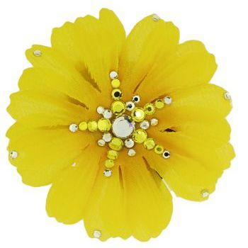 Michelle Roy - Medium Daisy Clip - Yellow w/ Swarovski Crystal Accents