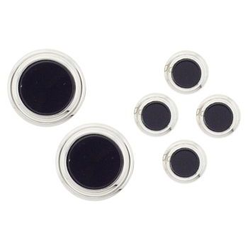 Michael Thornton - Studs - Round Two Teir Set - Silver/Onyx