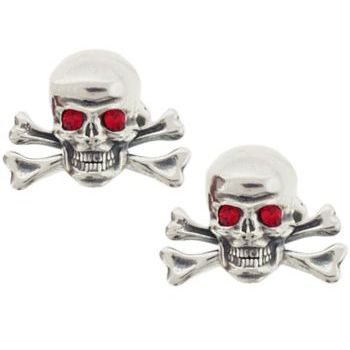 Michael Thornton - Sterling Silver Cuff Links - Skull & Crossbones w/Red Crystal Eyes