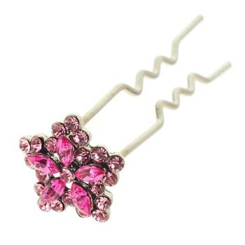 HB HairJewels - Austrian Crystal Mini Flower Pin - Rose (1)