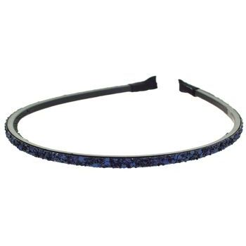 HB HairJewels - Lucy Collection - Mini Glitter Headband - Midnight Blue - 3/16