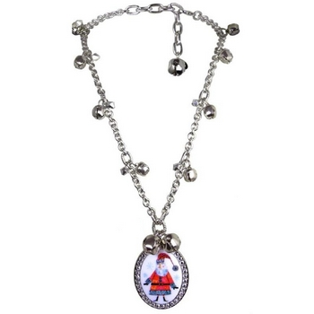 Tarina Tarantino - Santa Claus - Kris Kringle - Swarovski Crystal and Sleigh Bell Rhinestone Santa Pendant Necklace