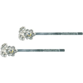 HB HairJewels - Crystal flower hairpin w/o stem - White Crystal