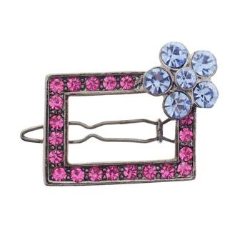 Karen Marie - Flowered Austrian Crystal Barrette - Rose w/ Blue (1)