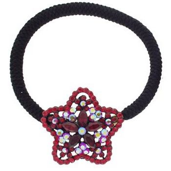 Karen Marie - Crystal Star Starflower Bouquet Pony Elastic - Red (1)