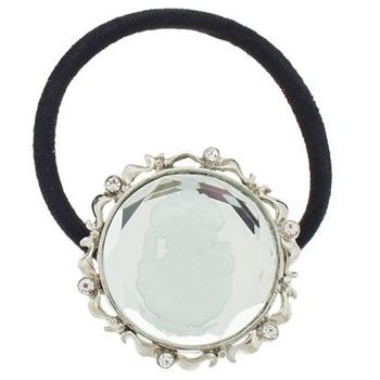 Karen Marie - Cameo & Crystal Ponytail Holder - White