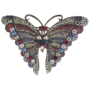 Karen Marie - Butterfly Brooch Pin (1) - Gun Metal & Garnet Inspired