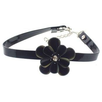 Karen Marie - Black Patent Leather Choker Necklace w/Pansy - Chocolate (1)